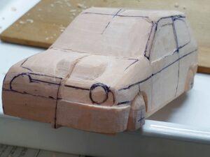 愛車 模型作り-旧規格 HA21S- HB11S スズキ アルトワークス の自作 ミニカー ヘッドライトのケガキ入れと削りと確認 (1)