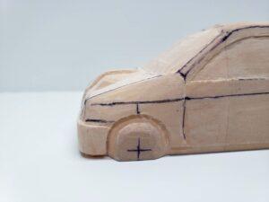 愛車 模型作り-旧規格 HA21S- HB11S スズキ アルトワークス の自作 ミニカー ヘッドライトのケガキ入れと削りと確認 (10)