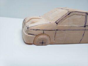 愛車 模型作り-旧規格 HA21S- HB11S スズキ アルトワークス の自作 ミニカー ヘッドライトのケガキ入れと削りと確認 (11)