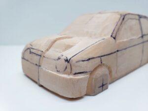 愛車 模型作り-旧規格 HA21S- HB11S スズキ アルトワークス の自作 ミニカー ヘッドライトのケガキ入れと削りと確認 (13)