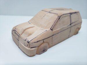 愛車 模型作り-旧規格 HA21S- HB11S スズキ アルトワークス の自作 ミニカー ヘッドライトのケガキ入れと削りと確認 (14)