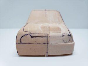 愛車 模型作り-旧規格 HA21S- HB11S スズキ アルトワークス の自作 ミニカー ヘッドライトのケガキ入れと削りと確認 (15)