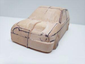 愛車 模型作り-旧規格 HA21S- HB11S スズキ アルトワークス の自作 ミニカー ヘッドライトのケガキ入れと削りと確認 (16)