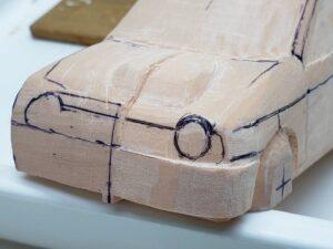 愛車 模型作り-旧規格 HA21S- HB11S スズキ アルトワークス の自作 ミニカー ヘッドライトのケガキ入れと削りと確認 (2)