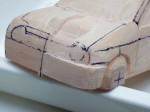 愛車 模型作り-旧規格 HA21S- HB11S スズキ アルトワークス の自作 ミニカー ヘッドライトのケガキ入れと削りと確認 (4)
