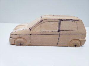 愛車 模型作り-旧規格 HA21S- HB11S スズキ アルトワークス の自作 ミニカー ヘッドライトのケガキ入れと削りと確認 (7)