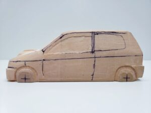 愛車 模型作り-旧規格 HA21S- HB11S スズキ アルトワークス の自作 ミニカー ヘッドライトのケガキ入れと削りと確認 (9)