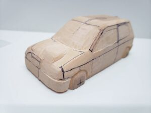 愛車 模型作り-旧規格 HA21S- HB11S スズキ アルトワークス の自作 ミニカー 前側と角の確認と削りの追加 (1)