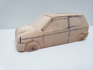 愛車 模型作り-旧規格 HA21S- HB11S スズキ アルトワークス の自作 ミニカー 前側と角の確認と削りの追加 (10)