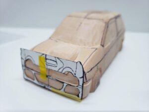 愛車 模型作り-旧規格 HA21S- HB11S スズキ アルトワークス の自作 ミニカー 前側と角の確認と削りの追加 (4)