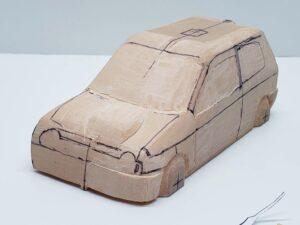 愛車 模型作り-旧規格 HA21S- HB11S スズキ アルトワークス の自作 ミニカー 前側と角の確認と削りの追加 (6)