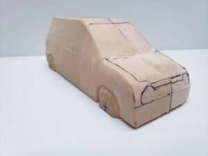 愛車 模型作り-旧規格 HA21S- HB11S スズキ アルトワークス の自作 ミニカー 前側と角の確認と削りの追加 (8)