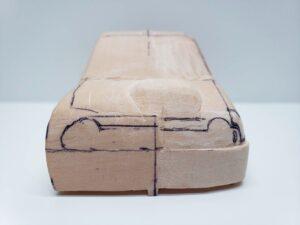 愛車 模型作り-旧規格 HA21S- HB11S スズキ アルトワークス の自作 ミニカー 前側と角の確認と削りの追加 (9)