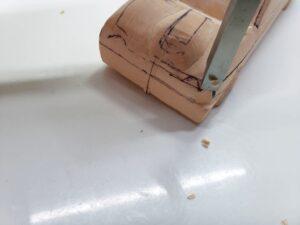 愛車 模型作り-旧規格 HA21S- HB11S スズキ アルトワークス の自作 ミニカー 前側と角の確認と削り (2)