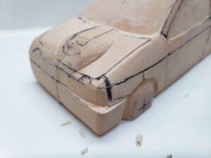 愛車 模型作り-旧規格 HA21S- HB11S スズキ アルトワークス の自作 ミニカー 前側と角の確認と削り (4)