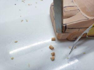 愛車 模型作り-旧規格 HA21S- HB11S スズキ アルトワークス の自作 ミニカー 前側と角の確認と削り (5)