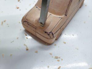 愛車 模型作り-旧規格 HA21S- HB11S スズキ アルトワークス の自作 ミニカー 前側と角の確認と削り (6)