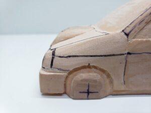 愛車 模型作り-旧規格 HA21S- HB11S スズキ アルトワークス の自作 ミニカー 前側のケガキの追加と確認 (5)