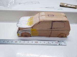 愛車 模型作り-旧規格 HA21S- HB11S スズキ アルトワークス の自作 ミニカー 前側の型紙合わせとケガキの追加と確認 (1)