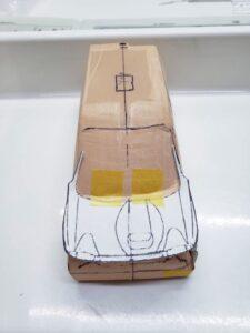 愛車 模型作り-旧規格 HA21S- HB11S スズキ アルトワークス の自作 ミニカー 前側の型紙合わせとケガキの追加と確認 (5)
