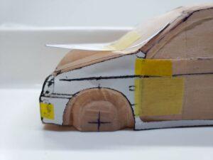 愛車 模型作り-旧規格 HA21S- HB11S スズキ アルトワークス の自作 ミニカー 前側の型紙合わせとケガキの追加と確認 (9)