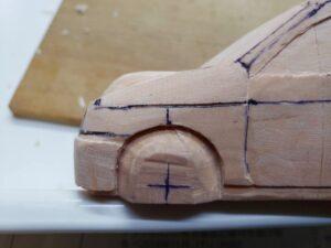 愛車 模型作り-旧規格 HA21S- HB11S スズキ アルトワークス の自作 ミニカー 左フェンダーとボンネット付近の削り追加と確認 (2)