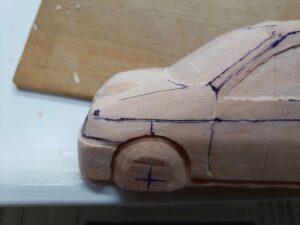愛車 模型作り-旧規格 HA21S- HB11S スズキ アルトワークス の自作 ミニカー 左フェンダーとボンネット付近の削り追加と確認 (3)