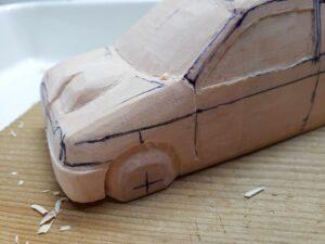 愛車 模型作り-旧規格 HA21S- HB11S スズキ アルトワークス の自作 ミニカー 左フェンダーとボンネット付近の削り追加と確認 (6)