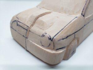 愛車 模型作り-旧規格 HA21S- HB11S スズキ アルトワークス の自作 ミニカー 左前のケガキと削り調整 (2)