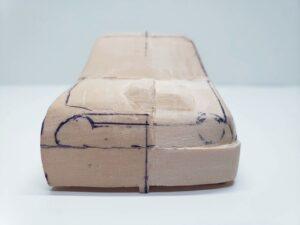 愛車 模型作り-旧規格 HA21S- HB11S スズキ アルトワークス の自作 ミニカー 左前のケガキと削り調整 (3)