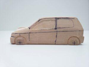愛車 模型作り-旧規格 HA21S- HB11S スズキ アルトワークス の自作 ミニカー 左前のケガキと削り調整 (4)