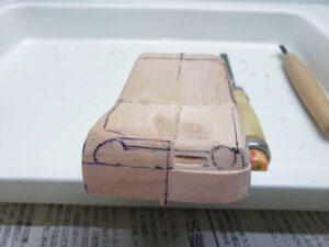 愛車 模型作り-旧規格 HA21S- HB11S スズキ アルトワークス の自作 ミニカー 左前のフロントグリルのケガキと削り (2)