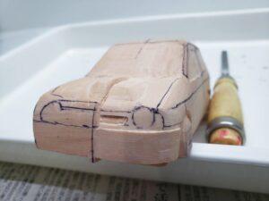 愛車 模型作り-旧規格 HA21S- HB11S スズキ アルトワークス の自作 ミニカー 左前のフロントグリルのケガキと削り (4)