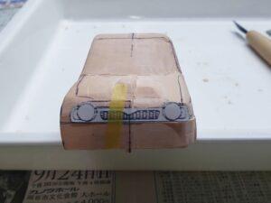 愛車 模型作り-旧規格 HA21S- HB11S スズキ アルトワークス の自作 ミニカー 左前のフロントマスクのケガキ (1)