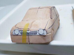 愛車 模型作り-旧規格 HA21S- HB11S スズキ アルトワークス の自作 ミニカー 左前のフロントマスクのケガキ (3)