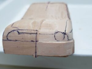 愛車 模型作り-旧規格 HA21S- HB11S スズキ アルトワークス の自作 ミニカー 左前のフロントマスクのケガキ (5)