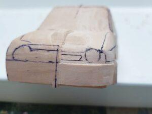 愛車 模型作り-旧規格 HA21S- HB11S スズキ アルトワークス の自作 ミニカー 左前のフロントマスクのケガキ (6)