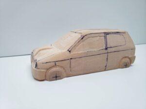 愛車 模型作り-旧規格 HA21S- HB11S スズキ アルトワークス の自作 ミニカー 左前のヘッドライト削り後の確認 (1)