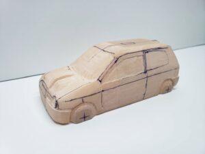 愛車 模型作り-旧規格 HA21S- HB11S スズキ アルトワークス の自作 ミニカー 左前のヘッドライト削り後の確認 (2)