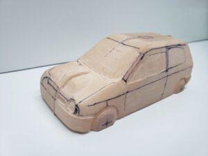 愛車 模型作り-旧規格 HA21S- HB11S スズキ アルトワークス の自作 ミニカー 左前のヘッドライト削り後の確認 (3)