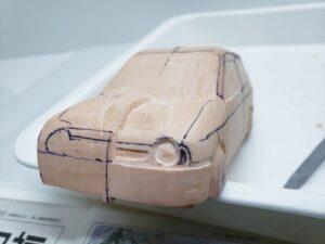愛車 模型作り-旧規格 HA21S- HB11S スズキ アルトワークス の自作 ミニカー 左前のヘッドライト削り (14)