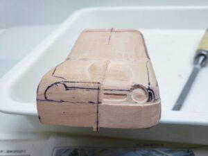 愛車 模型作り-旧規格 HA21S- HB11S スズキ アルトワークス の自作 ミニカー 左前のヘッドライト削り (15)