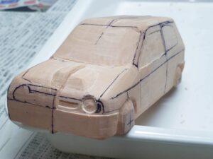 愛車 模型作り-旧規格 HA21S- HB11S スズキ アルトワークス の自作 ミニカー 左前のヘッドライト削り (23)