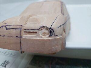 愛車 模型作り-旧規格 HA21S- HB11S スズキ アルトワークス の自作 ミニカー 左前のヘッドライト削り (8)