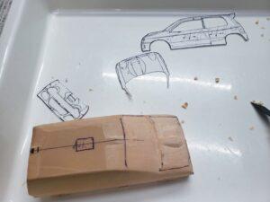 愛車 模型作り-旧規格 HA21S- HB11S スズキ アルトワークス の自作 ミニカー 左前の丸み付け、ケガキと削り調整 (3)