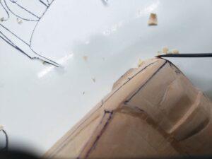 愛車 模型作り-旧規格 HA21S- HB11S スズキ アルトワークス の自作 ミニカー 左前の丸み付け、ケガキと削り調整 (5)